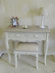 vanity ideas -cream dressing table console table and stool country chic vintage french shabby