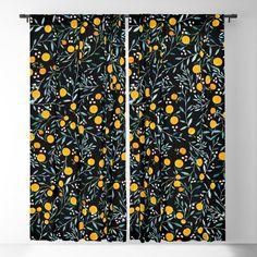Oranges Black Blackout Window Curtains & Drapes by Iisa MaPnttinen - x - Set of Two
