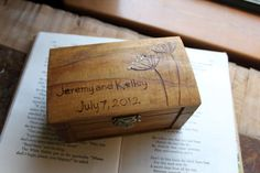 Rustic Woodburned Ring Bearer Box  Queen Annes by LazyLightningArt, $20.00