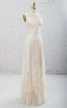 wedding dress casual Bodice of bias cut embroidered silk dupioni. The skirt is a glorious collection of artfully arranged laces and trims. Includes shawl of Backyard Wedding Dresses, Rustic Wedding Dresses, Casual Wedding, Boho Wedding Dress, Wedding Gowns, Denim Wedding, Wedding Simple, Civil Wedding, Bridal Gown