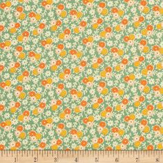 Penny Rose Hope Chest Hope Garden Green from @fabricdotcom  Designed by Erin Turner for Penny Rose, this cotton print is perfect for quilting, apparel and home decor accents.  Colors include off white, green, orange and yellow.