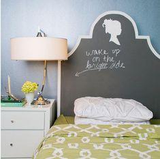 Kopfteile für Betten – coole, eigenartige Designs - Kopfteile Betten wandfarben verspielt wake up