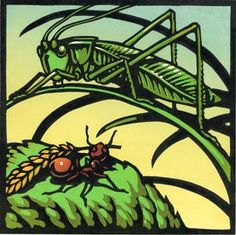 Ant and Grasshopper (From Mice, Morals and Monkey Business - Aesop Fables) Linocut by Chris Wormell
