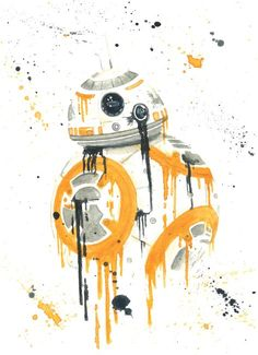 """""""BB-8 Splatter"""" by Ian Everett Lee. Prints available! Watercolor."""