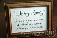 In Loving Memory Sign Table Card - Wedding Reception Seating Signage - Family Photo Table Sign - Matching Numbers Available SS02. $4.00, via Etsy.