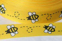 10 yards bumblebee bee bees Print foldover elastic FOE headband Hair Ties