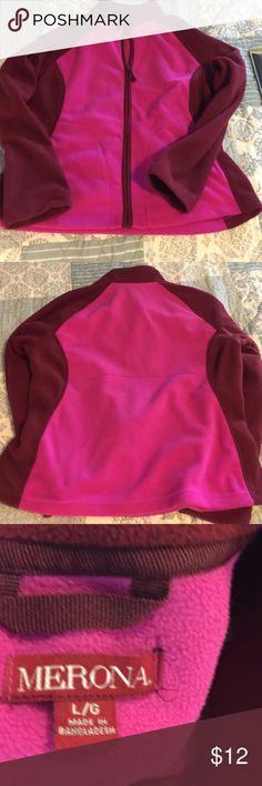 Merona Fleece zip up Gently worn Merona fleece zip up. Has never been dried in the dryer. Color is pink and dark pink/ maroon. Merona Tops Sweatshirts & Hoodies