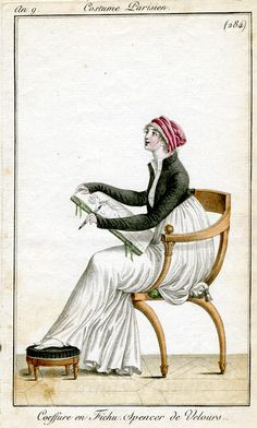 A lady sketching.  After years deprived of art, returning to sketching is one thing Diana truly loves.  Here's a period print from Costume Parisien