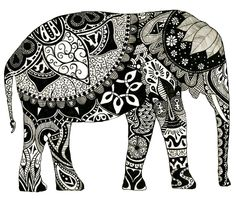 Elephants symbolize advice seekers; good luck; obstacles overcome; remembrance; slow ascent to success; strength; power and wisdom. Task: research an animal which embodies the characteristics you wish to portray.  Outline it, & ZENTANGLE!!  (good for the 7 Habits)