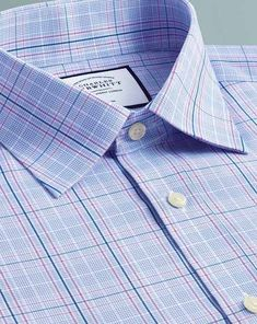 9f09af2c8 Buy our Slim fit non-iron Prince of Wales sky blue and pink shirt  exclusively from Charles Tyrwhitt of Jermyn Street, London.