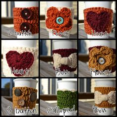 Custom crochet coffee cozies and tea cozies bow heart or flower stocking stuffer back to school custom colors available at no extra charge on Etsy, $10.00