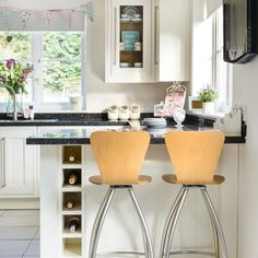 Cream And Granite Kitchen Breakfast Bar, Wine Rack