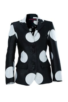 Oversized polka dots adorn this funky fitted blazer. The jacquard creates a textural finish and the front features sets of double buttons. With button cuffs and front flap pockets it is perfect teamed with skinny jeans and heels. Motorcycle Jacket, What To Wear, Polka Dots, Women Wear, Stripes, Skinny Jeans, Street Style, Blazer, Sweaters