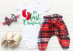 Girls Christmas Leggings Outfit Baby Girl Clothes by NylaMarieKids