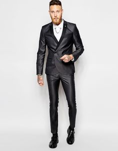 Religion X Noose & Monkey Black Double Breasted Suit in Skinny Fit