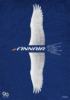 Finnair 90th Anniversary Poster by Erik Bruun