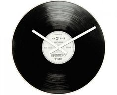 Off Black and Silver Spinning Time Wall Clock by Control Brand. @ One AA battery required for operation (not included) Vinyl Record Clock, Record Wall, Vintage Vinyl Records, Spinning, Old Record Player, Glass And Aluminium, Wall Clock Online, Cool Clocks, Any Music