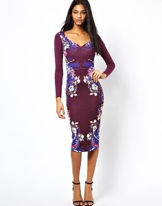 ASOS Sweetheart Bodycon Dress in Pretty Floral Panel Print