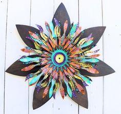 wooden wall clock | Boho Chic Wood Flower Wall Art | Mardi Gras Bohemian Decor | Boho Door ...