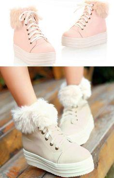 Freesia - Faux Fur Trim Lace Up Platform Shoes