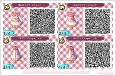 Pink and white panda sweater dress: ACNL QR clothes