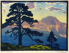 """Sierra Sunrise,"" William S. Rice - A great woodblock artist of the Arts and Craft tradition.  Other favorites of his work: Carmel Pines, c. 1920; Soquel Reef, c. 1930"
