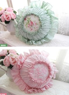 Sweet idea for pretty round pincushions! Pin Cushions, Round Cushions, Pattern Weights, Sewing Equipment, Shabby, Round Pillow, Button Art, Sewing Accessories, Diy Pillows