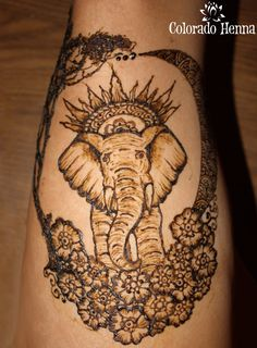 Elephant Henna from Colorado Henna artist! #coloradohenna #leghenna #henna #elephant #elephanthenna #mehndi