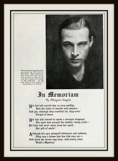 Rudolph Valentino's Last Photograph and In Memoriam - Photoplay Oct 1926 Hooray For Hollywood, Golden Age Of Hollywood, Vintage Hollywood, Classic Hollywood, Rudolph Valentino, Silent Film Stars, Movie Stars, Horsemen Of The Apocalypse, Memorial Cards