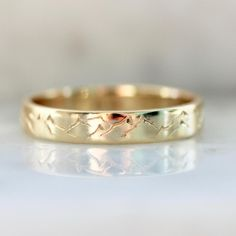 4mm Great Heights Engraved Gold Band - 6.25 / 18k Peach Gold