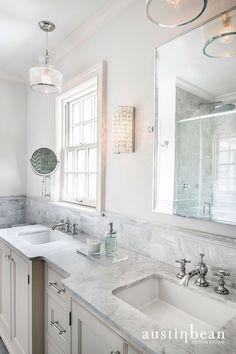 Austin Bean Design Studio - bathrooms - Lafitte Clear Glass Pendant, ivory washstand, ivory vanity, ivory double washstand, ivory double vanity