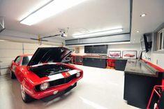 50 Garage Paint Ideas For Men - Masculine Wall Colors And Themes Garage Loft, Garage House, Garage Workshop, Dream Garage, Car Garage, Led Garage Lights, Garage Lighting, Cool Lighting, Lighting Ideas