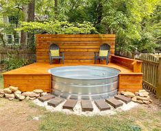 Learn the quick answers to the top 8 FAQs about stock tank pools! How do you keep stock tank pools clean? Small Backyard Patio, Backyard Patio Designs, Backyard Projects, Backyard Hot Tubs, Diy Backyard Ideas, Hot Tub Deck, Backyard House, Porch Ideas, Outdoor Projects