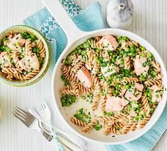 Make this salmon pasta in under 20 minutes for a dinner the whole family will enjoy. Kids will love the fun-shaped pasta while packing in fibre and Kids Cooking Recipes, Bbc Good Food Recipes, Healthy Dinner Recipes, Healthy Snacks, Healthy Dinners, Cooking Turkey, Budget Cooking, Cooking Pork, Cooking Videos