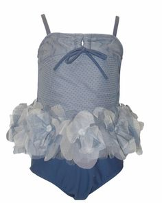 """Ciao Bella """"Sunset Shore"""" Gorgeous Grey/Blue Baby & Toddler 2pc. Tankini Bathing Suit with Tulle Flower Trim"""