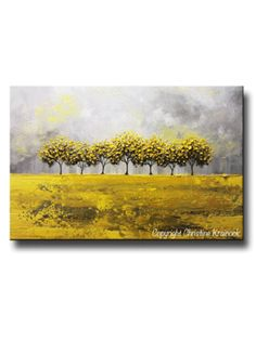 "ORIGINAL #Art Abstract Yellow Grey Painting - ""Golden Rain"". Contemporary, Textured, Tree Landscape. Yellow, Grey,  Modern, Abstract, Paintings, Horizon, Trees. Palette Knife Fine Art. White, grey, gold, large canvas, wall art, home decor, fall, gift. Mixed media acrylic on 24x36x1.5"" gallery wrapped canvas. Coastal, modern, urban horizon, rain.  - by Internationally Collected Artist, Christine Krainock - Contemporary Art by Christine"