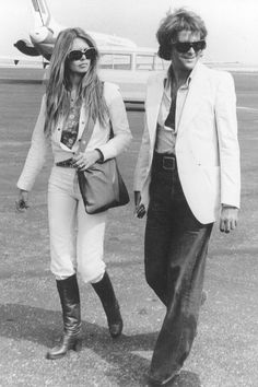 Brigitte Bardot and George Cibaud arriving in Nice in 1974.