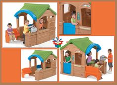 Kids playhouse with grill and bench