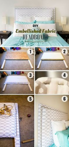 DIY Headboard Ideas You Can Build Right Now (All Types and Styles) Check out how to build this easy DIY Embellished Fabric HeadboardCheck out how to build this easy DIY Embellished Fabric Headboard Diy Deco Rangement, Diy Bett, Diy Headboards, Headboard Ideas, Diy Fabric Headboard, Diy Upholstered Headboard, Diy Casa, Easy Home Decor, Home Projects