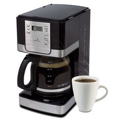 JWX Series 12-Cup Programmable Coffeemaker, Black/Stainless Steel Accents