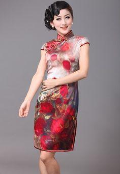 Silk Floral Cheongsam / Qipao / Chinese Dress