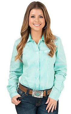 Cinch Women's Turquoise & White Stripe Long Sleeve Western Shirt | Cavender's