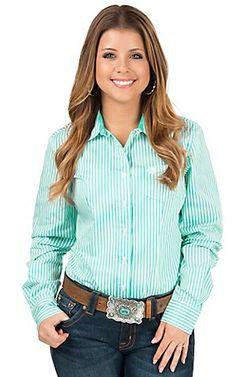 Cinch Women's Turquoise & White Stripe Long Sleeve Western Shirt | Cavender's