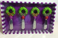 Mainstreet Collection Wreath Resin Spreaders Cheese Knives Set of 4 Christmas