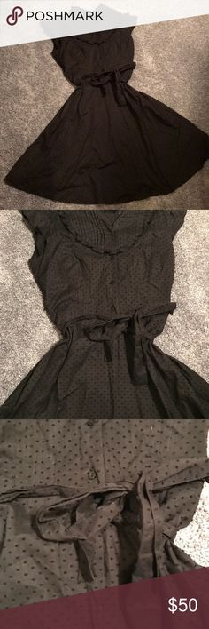 Victoria's Secret Black Swiss Dot Dress. Size 10. Victoria's Secret Black Swiss Dot Dress. Size 10. Gently used condition. Beautiful dress. Everytime I wore, I got lots of compliments!! 😊❤️ Swiss dot print. Flare skirt. Matching tie belt. Bibbed front that's pleated. Buttons. Cap sleeves with ruffles. Side zipper. May be slightly faded. Still beautiful. Will accept offers. Nell Couture Dresses