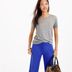 "A supersoft T-shirt with shimmery metallic dots—yes, we believe in too much of a good thing. <ul><li>Slightly loose fit.</li><li>Body length: 25"".</li><li>Cotton/poly/viscose.</li><li>Hand wash.</li><li>Import.</li></ul>"