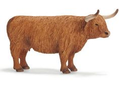 Highland cow from Schleich. Their farm series is fantastic and one could go a little crazy building their own miniature farm with so many animals. (they even sell outbuildings and people to complete the scene)