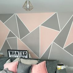 Looking for a fun, fresh way to update your accent wall? How about some geometric paint patterns? All you need is painters tape and a few colors to make this style of trendy accent wall, which lends a bold, beautiful touch to any room. Bedroom Wall Designs, Accent Wall Bedroom, Room Ideas Bedroom, Bedroom Decor, Accent Wall Designs, Painted Wall Designs, Painted Wall Art, Room Paint Designs, Bedroom Murals