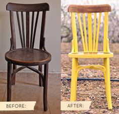 before & after: yellow chair via Design * Sponge Decor, Redo Furniture, Painted Furniture, Chair Design, Yellow Chair, Reupholster Chair, Wooden Chair, Furniture Makeover, Diy Chair