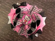Hello Kitty Nerd Boutique Layered Bottle Cap Hair Bow - OTT over the top - Plaid, Pink, Black, White - by sweetteabowtique via Etsy